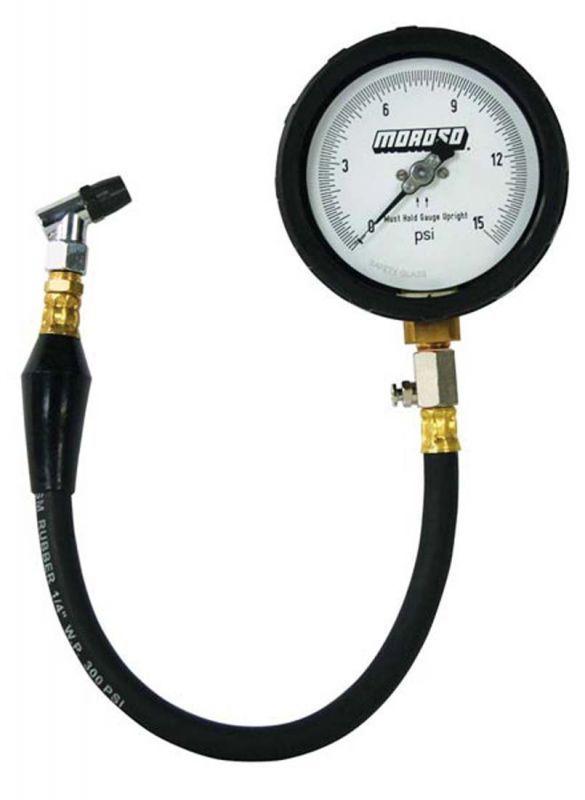 Moroso #89552 Pro Series Tire Pressure gauge, 0-15 psi. Major increments at 3 psi with minor increments at 0.1 psi