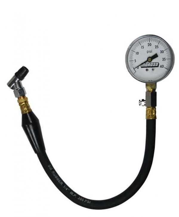 Moroso #89555 Radial Tire Pressure Gauge, dial type, 0-40 psi