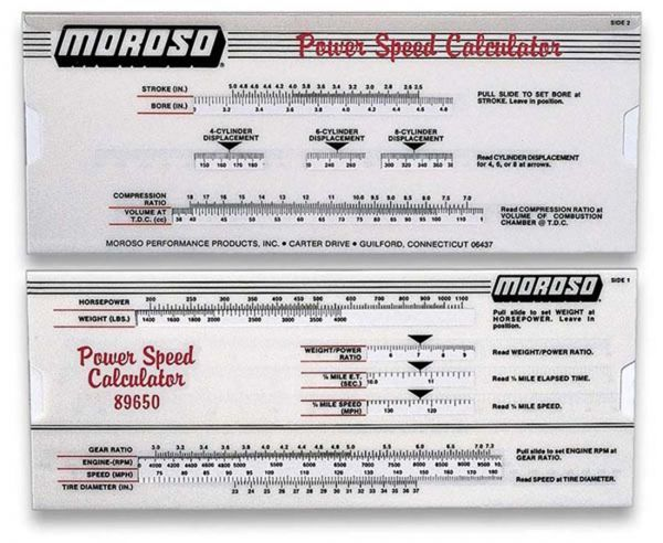 Moroso #89650 Power-Speed Calculator