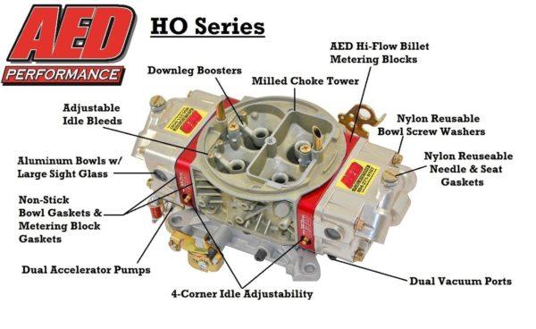 AED Performance - 850 HO Series Aluminum Carburetor, Gas, Std Booster, Billet Red Metering Blocks AL850HO-RD