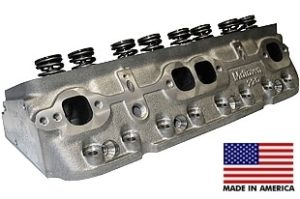 "World Products 014150-50-2 - Cylinder Heads Cast Iron Chevy Small Block MOTOWN 220cc 50cc 23Degree 2.080"" x 1.600"" Angle Plug, Assembly w/ 1.437"" springs for solid flat tappet or Hyd.roller lifters"