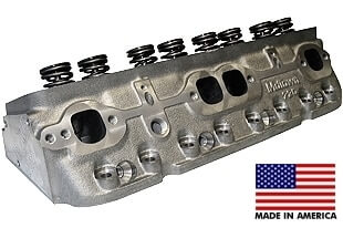 """World Products 014150-50-1 - Cylinder Heads Cast Iron Chevy Small Block MOTOWN 220cc 50cc 23Degree 2.080"""" x 1.600"""" Angle Plug, Assembly w/ 1.250"""" springs for hydraulic flat tappet lifters"""