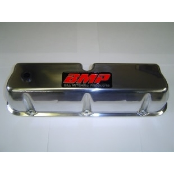 Bill Mitchell Products 70950BMP - Valve Covers Ford Small Block Die Cast Polished Tall BMP Logo