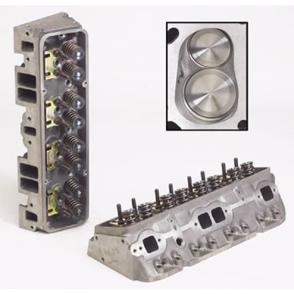 """World Products 011250-2 - Cylinder Heads Cast Iron Chevy Small Block SPORTSMAN II 200cc 64cc 23Degree 2.020"""" x 1.600"""" Straight Plug, Assembly w/ 1.437"""" springs for solid flat tappet or Hyd.roller springs"""