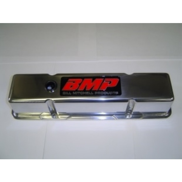Bill Mitchell Products 70900BMP - Valve Covers Chevy Small Block Diecast polished Tall BMP Logo