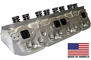 """World Products 012250-1 - Cylinder Heads Cast Iron Chevy Small Block SPORTSMAN II 200cc 72cc 23Degree 2.020"""" x 1.600"""" Straight Plug, Assembly w/ 1.250"""" springs for hydraulic flat tappet lifters"""