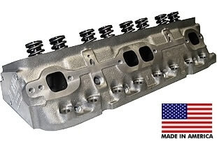 """World Products 042670 - Cylinder Heads Cast Iron Chevy Small Block S/R Torquer 170cc 76cc 23Degree 2.020"""" x 1.600"""" Straight Plug, Bare Casting"""